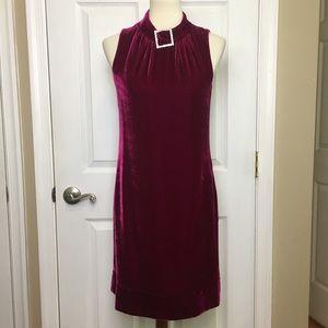 Trina Turk  Pink Silk Velvet Shift Dress